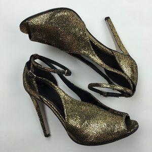 ASOS gold and black metallic heels Sz 6